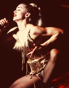 Singing 'Like a Virgin' during the Blond Ambition Tour, 1990