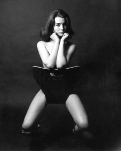 Keeler's iconic pose for Lewis Morley, 1963