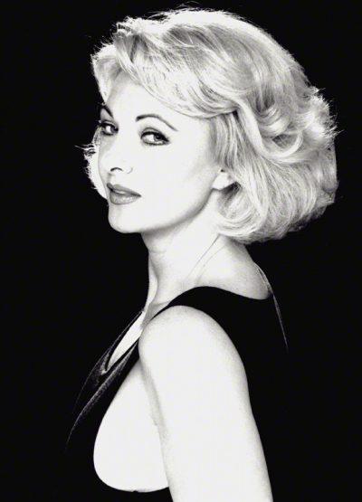 Mandy Rice-Davies, photographed by Bryan Wharton, 1986.