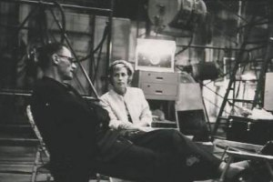 Pat with Arthur Miller during filming of 'The Misfits', 1960.