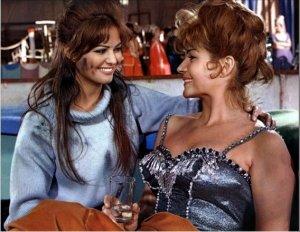 Rita with Italian actress Claudia Cardinale during filming of 'Circus World '