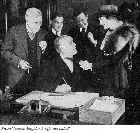 Émile Chautard (seated) directs Frederick Warde (left) and Jeanne Eagels (right) in 'Under False Colors' (1918)